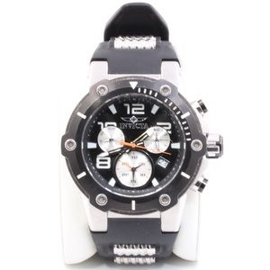 Mens Invicta Stainless Steel Black Silicone Watch